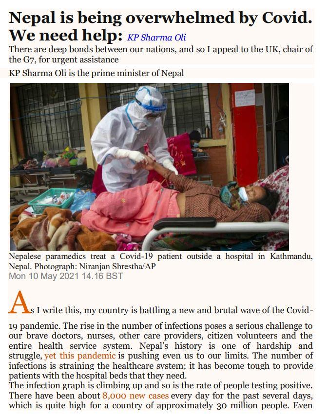 कोभिड नेपाल: प्रधानमन्त्री केपी ओलीले अन्तर्राष्ट्रिय सहायताको अपील गरेपछि दाताहरूलाई पत्राचार
